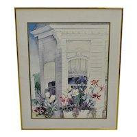 "Vintage Framed Susan Tolle McClure Print titled ""Victorian Windows"""