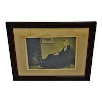 Antique Framed James McNeill Whistler Print Titled Mother