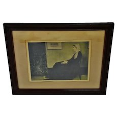 Antique Framed James McNeill Whistler Print Titled Mother