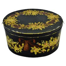 Vintage Extra Large 30 x 24 Hand Painted Toleware Lidded Box