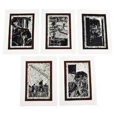 Vintage Elaine Hudson Hamilton Artist Proof Woodcut Etchings - Group of 5