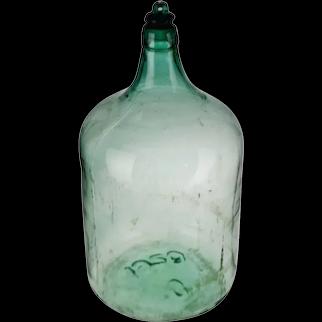 Vintage Large Scale 1920 Aqua Glass Demijohn Wine Bottle w/ Glass Stopper