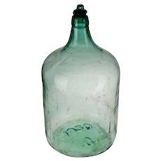 Antique Large Scale 1920 Aqua Glass Demijohn Wine Bottle w/ Glass Stopper