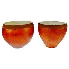 Vintage Kenyan Gourd Drums - A Pair