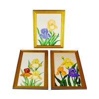 Vintage Framed Floral Still Life Artist Signed Oil on Canvas Paintings - Set of 3