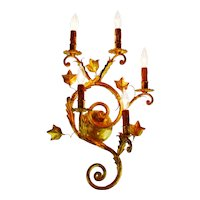 Vintage Large 5 Arm Spanish Rococo Style Gilt Tole Candelabra Wall Sconce