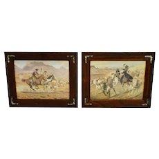 Vintage Rustic Framed Joe Grandee Western Prints - A Pair