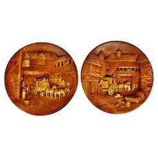 Vintage Equestrian The Coach and Horses Chalkware Wall Plaques - A Pair