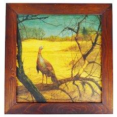 Vintage Rustic Framed Ken Davies Turkey Print