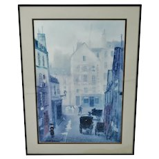 Vintage Framed Paris Street Scene Lithograph by Michel Delacroix