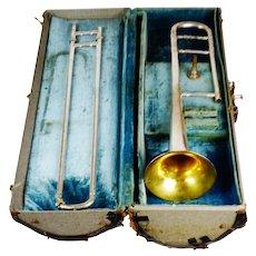 Vintage 1921 Conn 4H Silver Slide Trombone w/ Original Case & Original Conn Mouthpiece
