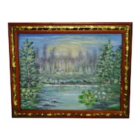 Vintage Framed Landscape Acrylic on Panel - Artist Signed