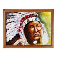 Framed Oil on Board Signed Painting Portrait of Native American Indian Chief
