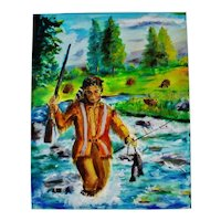 Oil on Canvas Signed Painting of Native American Indian Fishing - Artist Signed