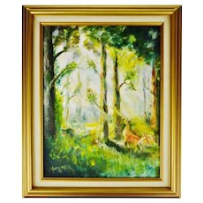 Framed Oil on Board Signed Painting of Deer in Forest