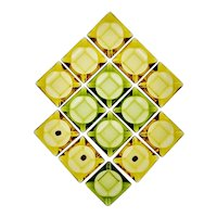 Vintage NOS Anchor Hocking Avocado Green & Honey Gold Glass Ashtrays - Group of 14