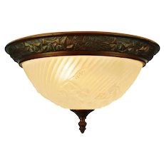 Vintage Molded Frosted Glass with Ivy Relief Design Flush Mount Ceiling Fixture