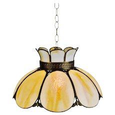Vintage Cream & Caramel Swirl Slag Glass and Brass Pendant Chandelier Light