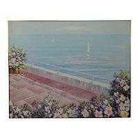 Vintage Framed Oil on Canvas Seascape Painting Sailboat in Bloom - Artist Signed