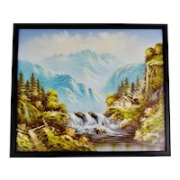 Vintage Framed R. Boren Signed Mountain Waterfall Oil on Canvas Painting