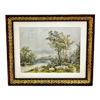 Vintage Nicely Framed Country Landscape Scene Print