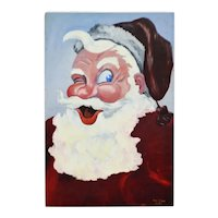 """Large Vintage 1953 Signed Santa Claus Painting on Board 36"""" x 24"""""""