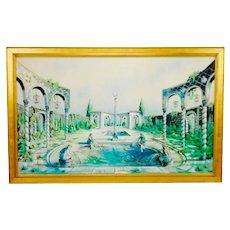 """Large Vintage Illuminated Giclee Painting on Panel Signed 65"""" x 41"""""""