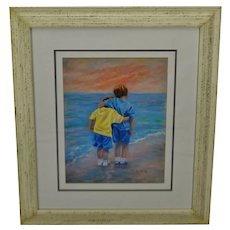 Vintage Framed Betty Morris Hamilton Pastel Print Title Friends