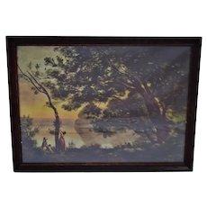 Vintage Framed Jean Baptiste Camille Corot Landscape Print