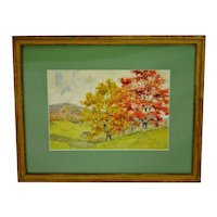 Vintage Framed Landscape Watercolor - Artist Signed