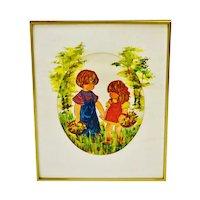 Vintage 1970's Framed Children in Garden Watercolor - Artist Signed