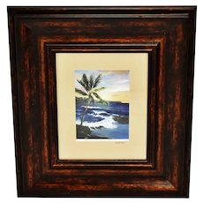 Vintage Framed Photography Art of Original Hawaiian Oil Painting - Artist Signed