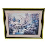 Vintage Framed Wooded Landscape w/ Stream Print