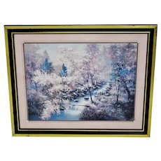 Vintage Framed Wooded Landscape w/ Stream Print