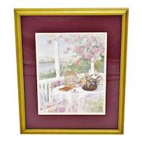 Vintage Framed Gloria Eriksen Watercolor Print
