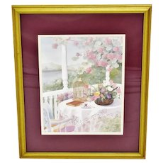 Vintage Framed Gloria Eriksen Watercolor Print