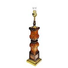 Vintage Carved Wood Table Lamp