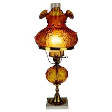 Mid Century Amber Glass Table Lamp with Marble Base