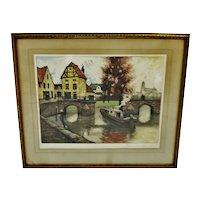 Vintage Framed Artist Proof Color Etching European Landscape Scene - Artist Signed