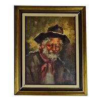 Vintage Framed Oil on Canvas Portrait Painting - Artist Signed