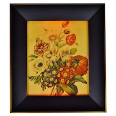 Vintage 1960's Floral Reverse Painted Glass 3 Way Illuminated Shadow Box