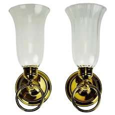 Vintage Brass and Glass Candle Wall Sconces - A Pair