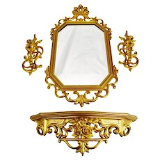 Vintage Syroco Wall Mirror, Shelf and Candle Wall Sconces - Set of 4
