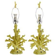 Vintage Faux Coral Table Lamps - A Pair