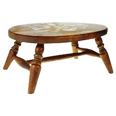 Vintage Pennsylvania Dutch Decorated Wood Foot Stool