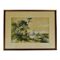 Antique Framed Watercolor Massachusetts Landscape Scene - Artist Signed