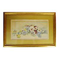 Antique Framed Floral Still Life Watercolor  - Artist Signed