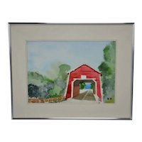 Vintage Framed Covered Bridge Landscape Watercolor Painting - Artist Signed