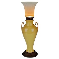Art Deco Ceramic Table Lamp with Frosted Fluted Glass Shade