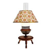Vintage Wood Stool Base Table Lamp